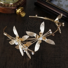 HIMSTORY Vintage Gold Baroque Pearl Headbands Butterfly PEarl Crowns Wedding Bridal Hair Accessories HEadpiece Jewelry