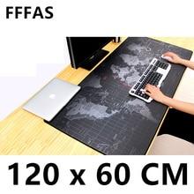 FFFAS ล้างทำความสะอาดได้ 120x60 ซม.XXL เมาส์ใหญ่ Pad Gamer Mousepad แป้นพิมพ์สำนักงานตาราง Cushion Home Decor Estera ONE PIECE แผนที่ 1.2