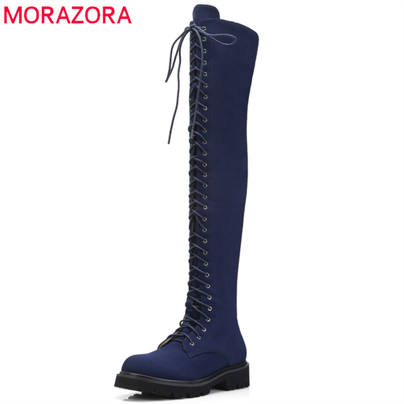 MORAZORA 2018 new fashion style thigh high over the knee boots women denim Stretch autumn winter boots casual punk shoes woman MORAZORA 2018 new fashion style thigh high over the knee boots women denim Stretch autumn winter boots casual punk shoes woman