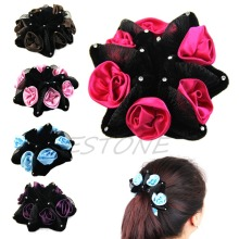 Цветок розы булочка гирлянда цветочные головы узел волос Топ эластичный Свадебный резинка для волос