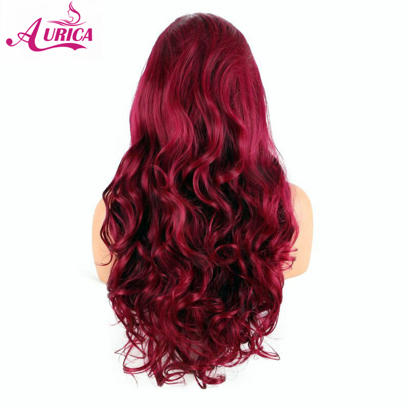 Aurica rose red body wave synthetic lace front wigs natural half hand tied heat resistant fiber hair for woman free parting