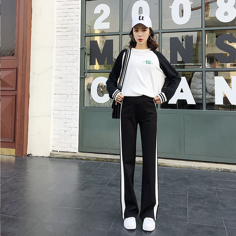 Fashion Loose Directly White Ribbon Elastic Waist Pants 2018 Spring New Arrival Casual Wide Leg Black Pants Hot Sale B83815f Pants & Capris