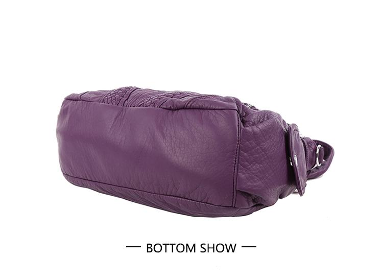 Women Washed PU Leather Top Handle Satchel Shoulder Bag