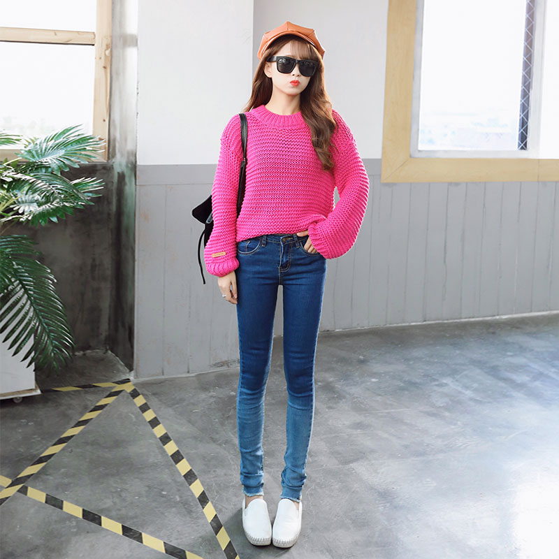 ФОТО Stretch Woman Jeans Autumn New  Female Sexy Slim Denim Gradient color Pants Pencil Ripped Skinny Trousers Cotton Plus  Size