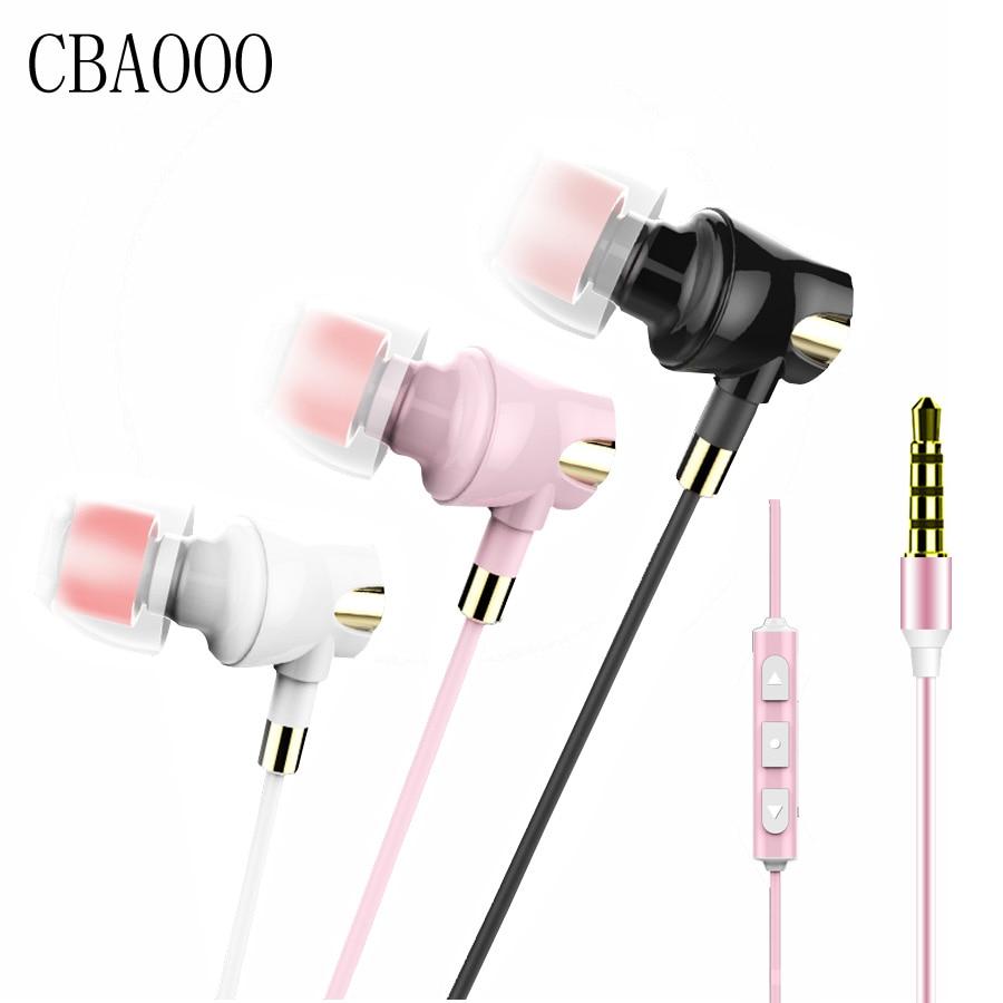 CBAOOO Bass Earphone Stereo In Ear Headset Ceramic Earbud Earphones Wire Noise reduction Headphone Microphone for iPhone xiaomi пустышки philips avent силиконовая классика 0 6 мес 2 шт