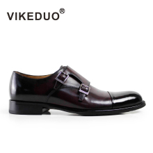 VIKEDUO 2017 Classic Vintage Men Italy Style Monk Dress Shoes Handmade Wine Red 100% Genuine Leather Double Buckle Hand Painted
