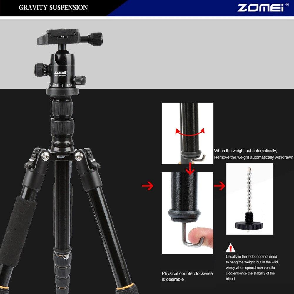Zomei Q666 aluminum Portable 10KG bear slr video tripodes digital camera tripod professional para reflex dslr