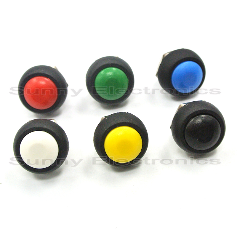 1pcs Mini Red Blue Green Yellow White Black Round Toggle Switch 12mm Momentary Push Button Switch