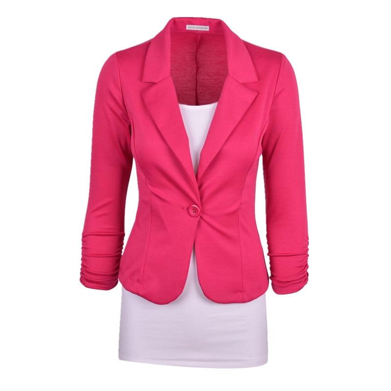 97c53fc08e7 New Women Blazer Spring Slim Top Elegant Single Button Short Design Big  Size Blazer Suit Female Suit   Women Work Wear MZ1498-in Blazers from  Women s ...