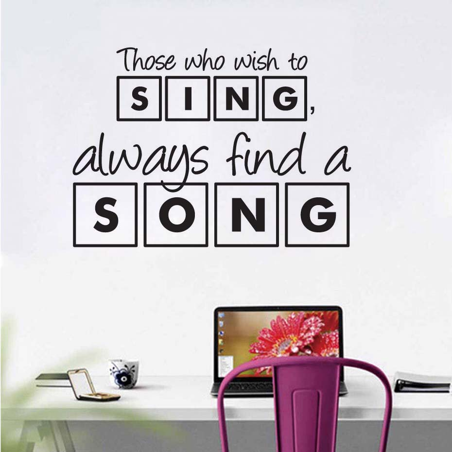 DCTOP Modern Living Room Decor Those Who Wish To Sing Always Find A Song Wall Sticker Quotes Wall Art image
