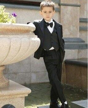 boy suits two Button Boy Tuxedos Notched Lapel Children Suit Kids Wedding/Prom Suits three piece suit (jacket+vest+pants+tie)