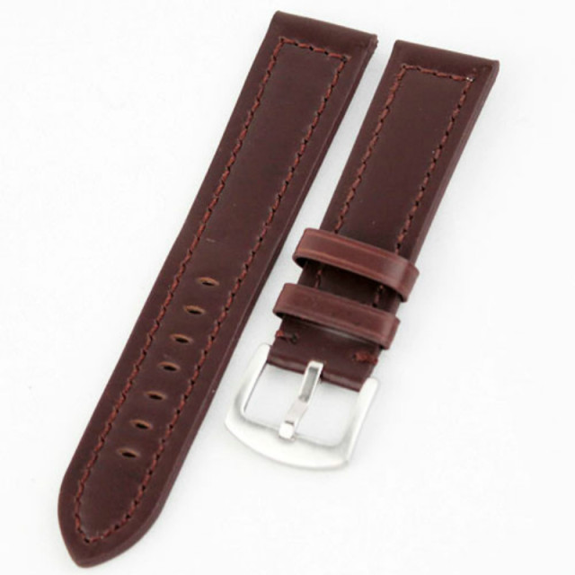 Brown /Black Smooth Matt Leather Watch Band Strap Wide Clasp Hole for Big Watch