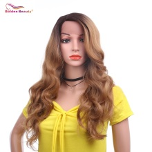 L Part Lace Front Wigs for Women Body Wave Synthetic Wig Medium Length Wavy Wigs with Side Deep Parting Brwon 613 Golden Beauty цена в Москве и Питере