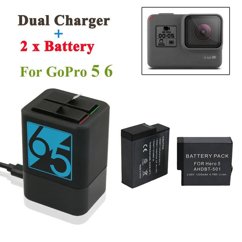 2 unids 1220 mAh batería recargable + Hero5 6 7 Dual del cargador de batería para GoPro héroe de 7 6 GoPro 5 negro Cámara del deporte Cámara de 2018
