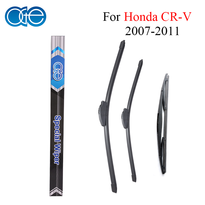 все цены на Oge Front And Rear Wiper Blades For Honda CRV CR-V 2007 2008 2009 2010 2011 Rubber Windscreen Wipers Car Accessories онлайн
