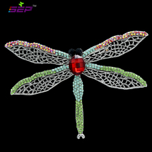 2016 New Insect Dragonfly Brooches Animal Pins Crystals Broaches for Women Jewelry Accessories 6 Color Free Shipping 6612