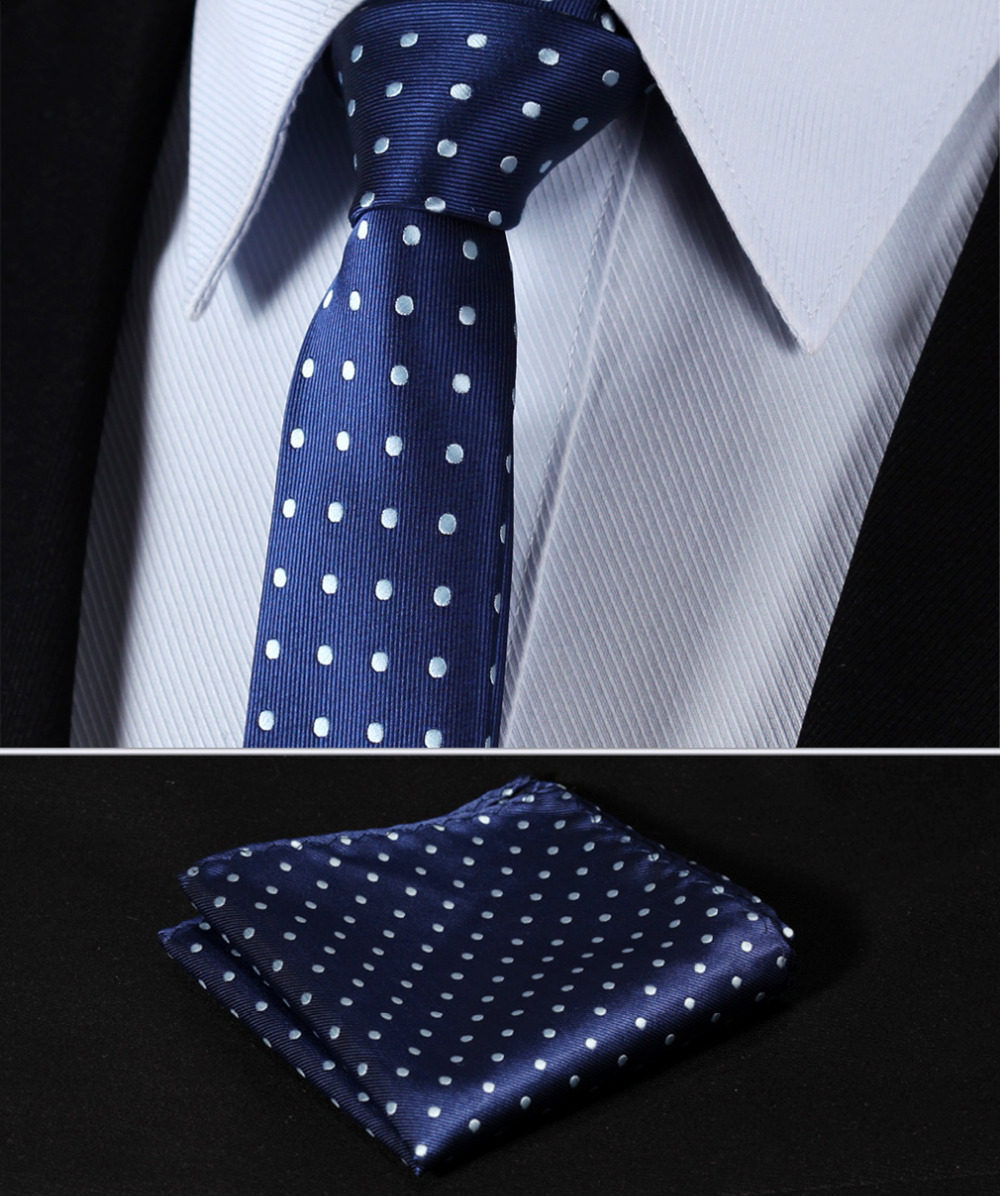 "TD1003B5 Navy Blue Polka Dot 2.17"" 100%Silk Woven Slim Skinny Narrow Men Tie Necktie Handkerchief Pocket Square Suit Set"