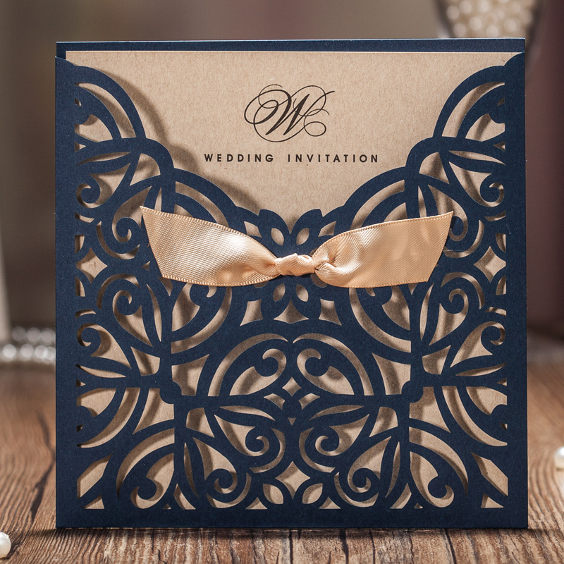 50pcs Wishmade Navy Blue Laser Cut Wedding Invitations Cards With Bowknot Paper Cardstock for Wedding engagement