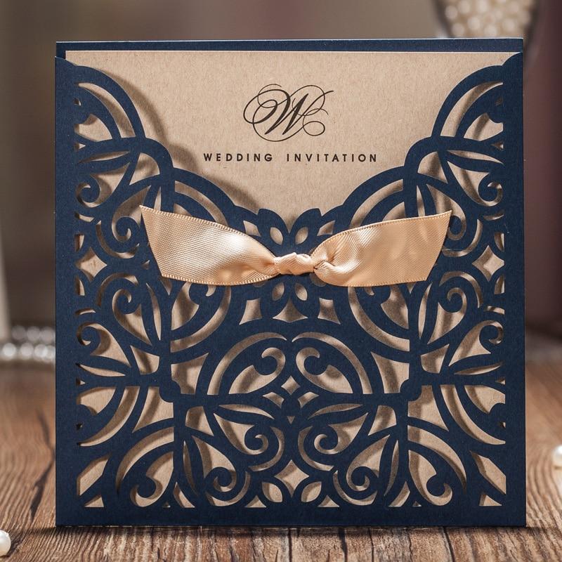 50pcs Wishmade Ναυτικό μπλε λέιζερ κοπεί γαμήλιες προσκλήσεις Κάρτες με χαρτόνι Bowknot για γάμο δέσμευση Κόμμα CW6179B