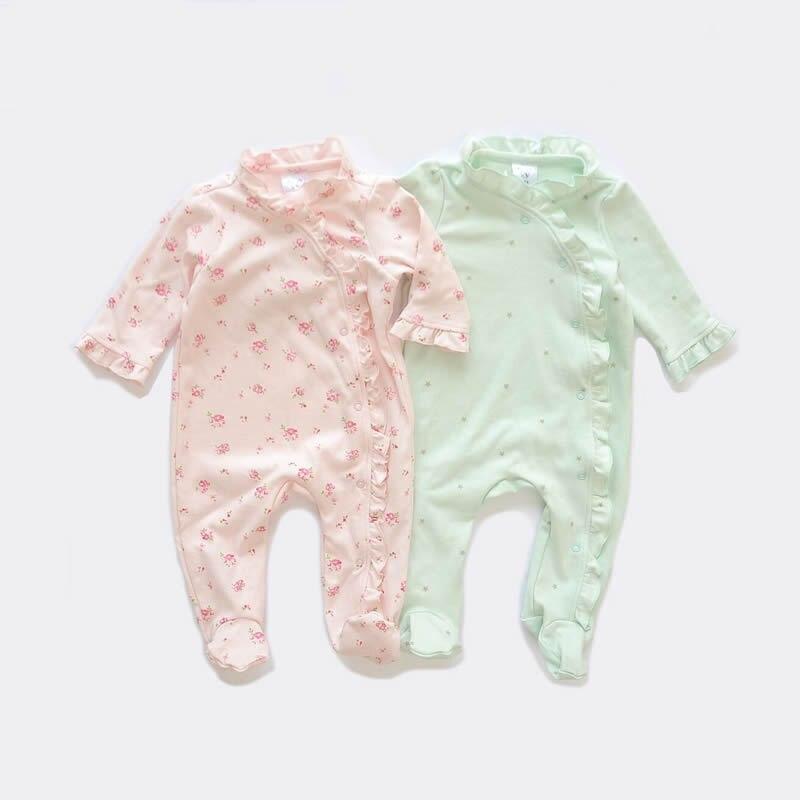 Baby Girl Footie Pajamas With Flowers Print Side Snap Baby Girl Sleepwear 2 Pack 0-12 Months