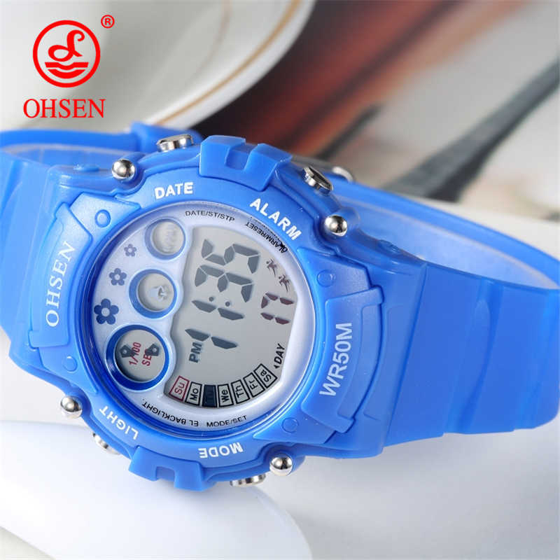 OHSEN Children Watch Boys Girls LED Digital Sports Watches Plastic Kids Alarm Date Casual Watch Select Gift Kid Students Watch