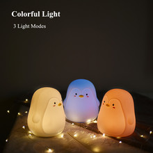 Touch Sensor Colorful LED Penguin Night Light USB Rechargeable Cartoon Silicone Animal Bedside Lamp for Children Kids Baby Gift colorful usb rechargeable silicone lamp cat kitten led night light soft cartoon baby kids lamp xmas new year gift drop shipping