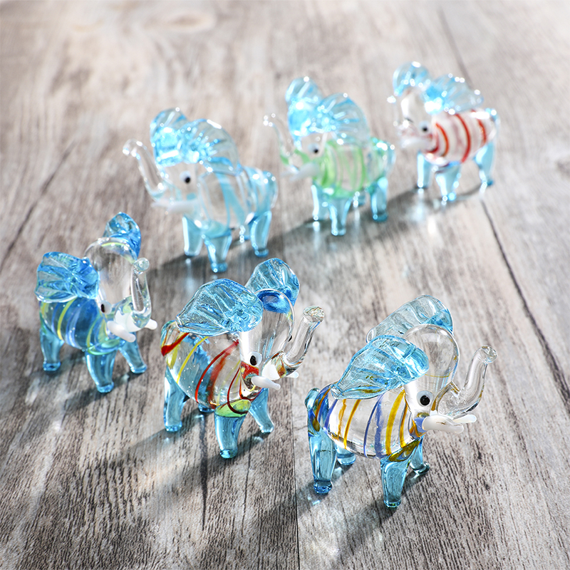 H&D Set of 6,Mini Elephant Glass Figurines Handblown Glass Art Animals Collectible Sculpture Ornaments Creative Gift For Kids