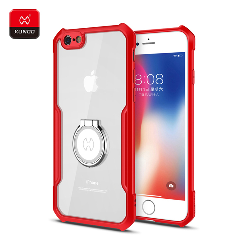 Original Luxury Shockproof Transparent Back Case For iPhone 6S 7 8 Plus Phone Finger Ring holder Cover Cases Magnetic car holder in Fitted Cases from Cellphones Telecommunications