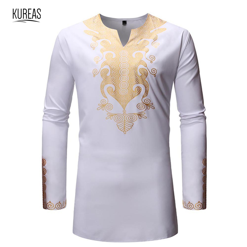 Kureas African Clothing Dashiki T Shirts Men National Print V-Neck Shirt Long Sleeve Blouse Fashion Slim Africa Clothes