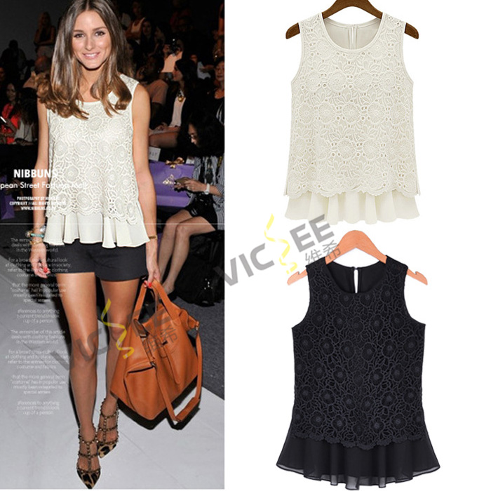 2014 summer new large size Slim round neck sleeveless lace chiffon shirt blouse women's vest tank top tees VCC018 - VICSEE International Apparel Ltd store
