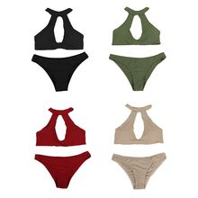 Women Plus Size Sexy Two Piece Bikini Set Halter Neck Large Hollow Out Backless Bra Low Waist Cheeky Thong Bottoms Solid Color S alluring halter striped hollow out women s tankini set