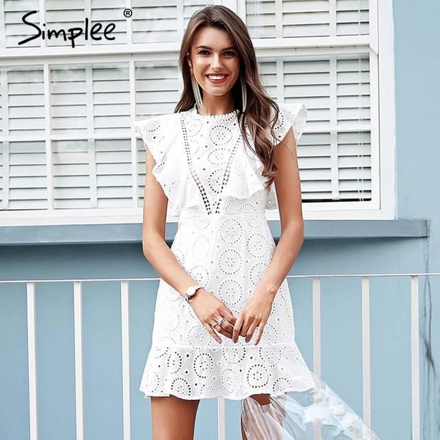 f7209b638 Simplee Embroidery cotton white dress women Ruffle sleeve high waist short  dress 2018 Keyhole back casual dress female vestidos-in Dresses from Women's  ...