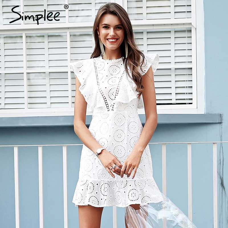 384106b38e ... Simplee Embroidery cotton white dress women Ruffle sleeve high waist  short dress 2018 Keyhole back casual ...