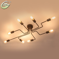 Retro Creative Metal Flush Mount 4/6/8 Light Cafe Bar Ceiling Lamp Chandelier Lighting Fixure