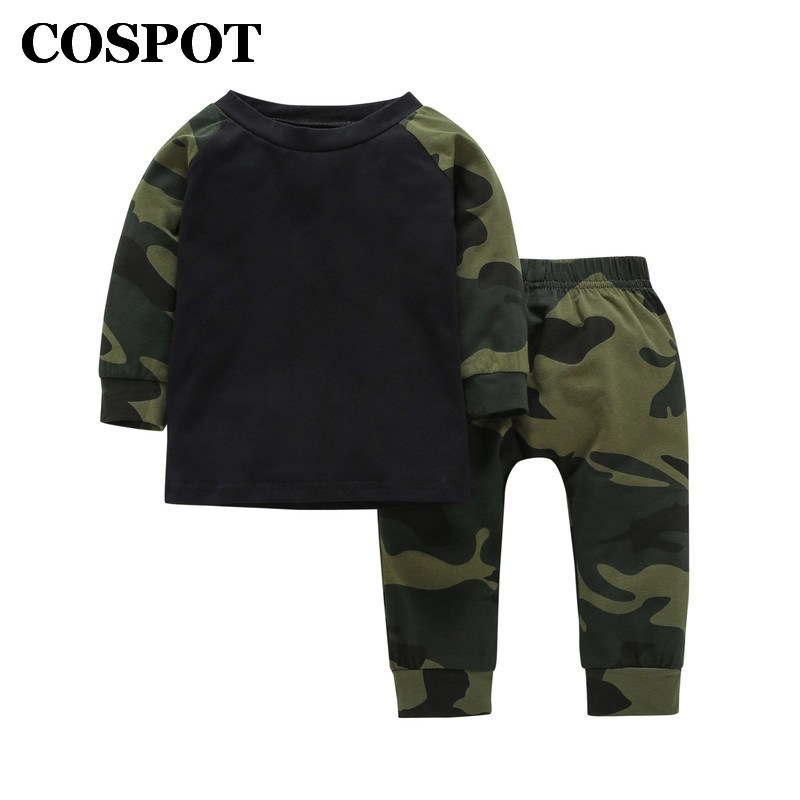 цены COSPOT 2018 New Baby Boys Clothing Set 2PCS T-Shirt+Pants Spring Cotton Camouflage Children Sets Suits Kids Baby Boy Clothes 35E