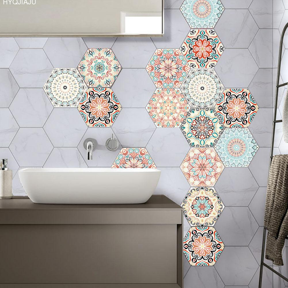 10 PCS Retro 6 Sided DIY Home Nonslip Tiles Stickers PVC Bathroom ...