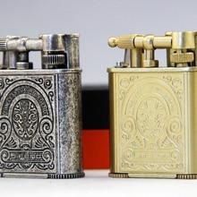 JIFENG Зажигалка для сигарет в стиле ретро зажигалка с двойным струйным пламенем газовая зажигалка w/встроенный инструмент для пробивания сигар, кремневая как бесплатный подарок