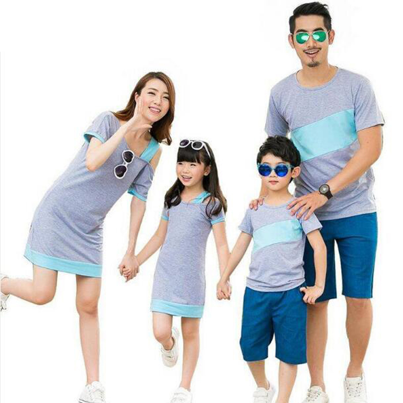 Family Matching Outfits New 2019 Family Clothing Summer Family Look Mother Daughter Dresses Father Son T-Shirt Cotton Striped