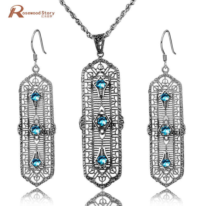 Brand New Romantic Vintage Sky Blue Rhinestone Crystal Pendant & Drop Earrings Pure 925 Sterling Silver Jewelry Sets for Women цена 2017