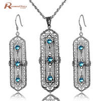 Brand New Romantic Vintage Sky Blue Rhinestone Crystal Pendant & Drop Earrings Pure 925 Sterling Silver Jewelry Sets for Women