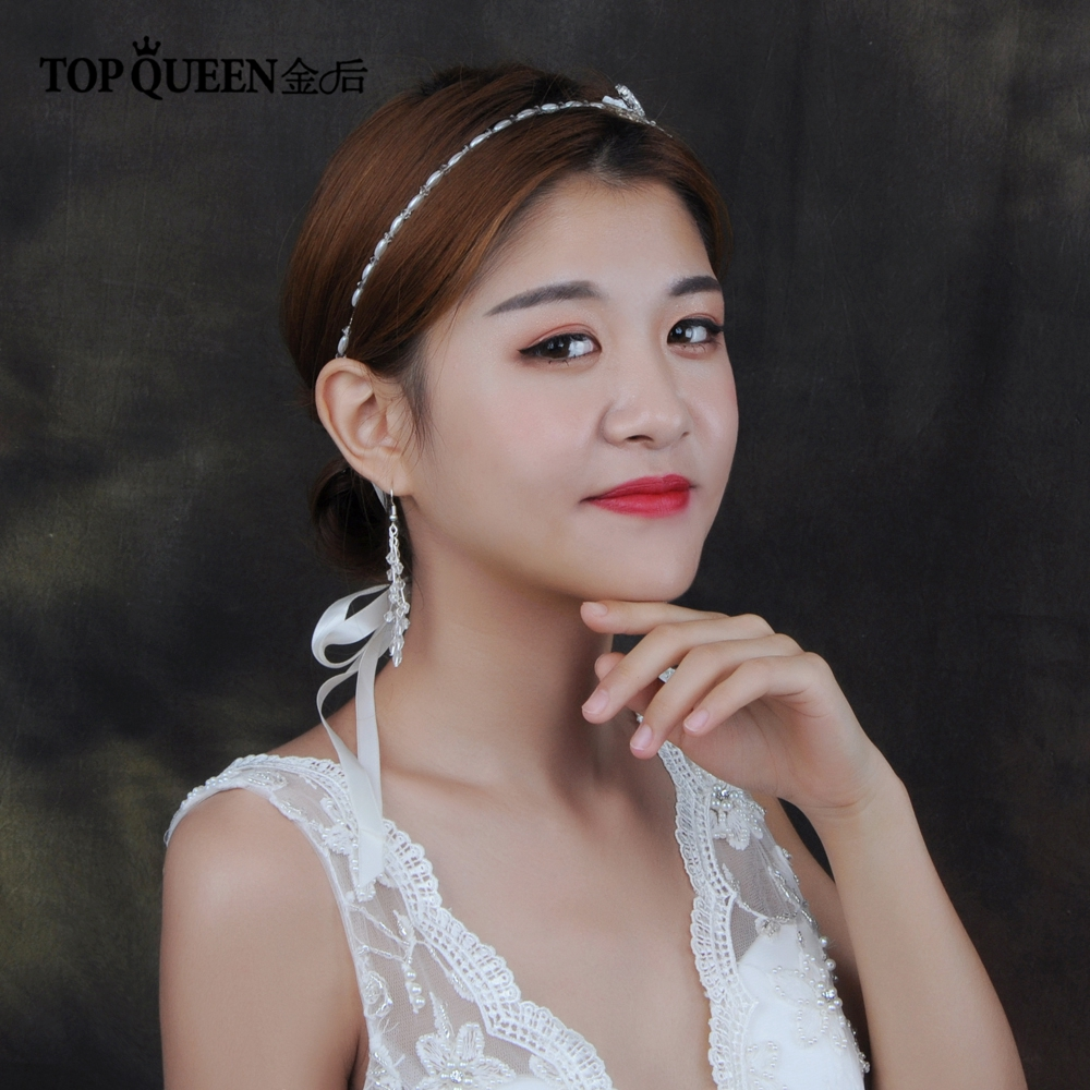 TOPQUEEN HP130  Origina Plum Blossom & Peal Handmade Beaded Wedding Headbands Hair Accessories Bridal Head Piece