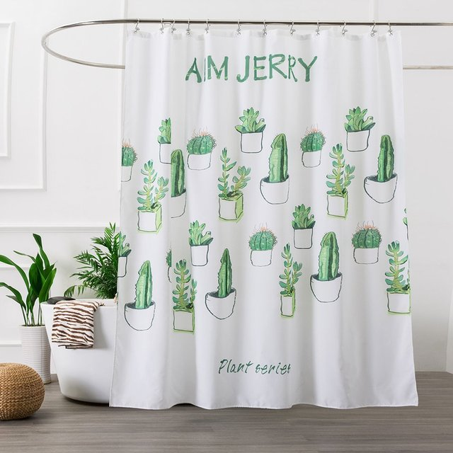 Cactus White Washable Mildew Resistant Fabric Shower Curtain Liner For Bathroom Bath Curtains