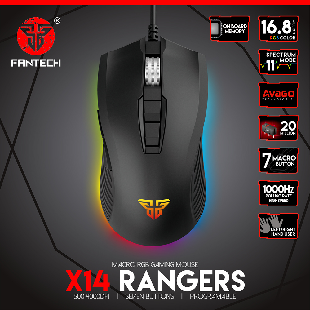 Fantech X14 Gaming Mouse Wired Usb 7 Buttons 1 5M Rgb Light 11 Modes For lol dota 2 PC Laptop Mouse Gamer in Mice from Computer Office