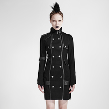 Gothic Punk Women's Handsome Uniform Dress Steampunk Black Long Sleeve Stand Collar Slim-Fitting Short Dress