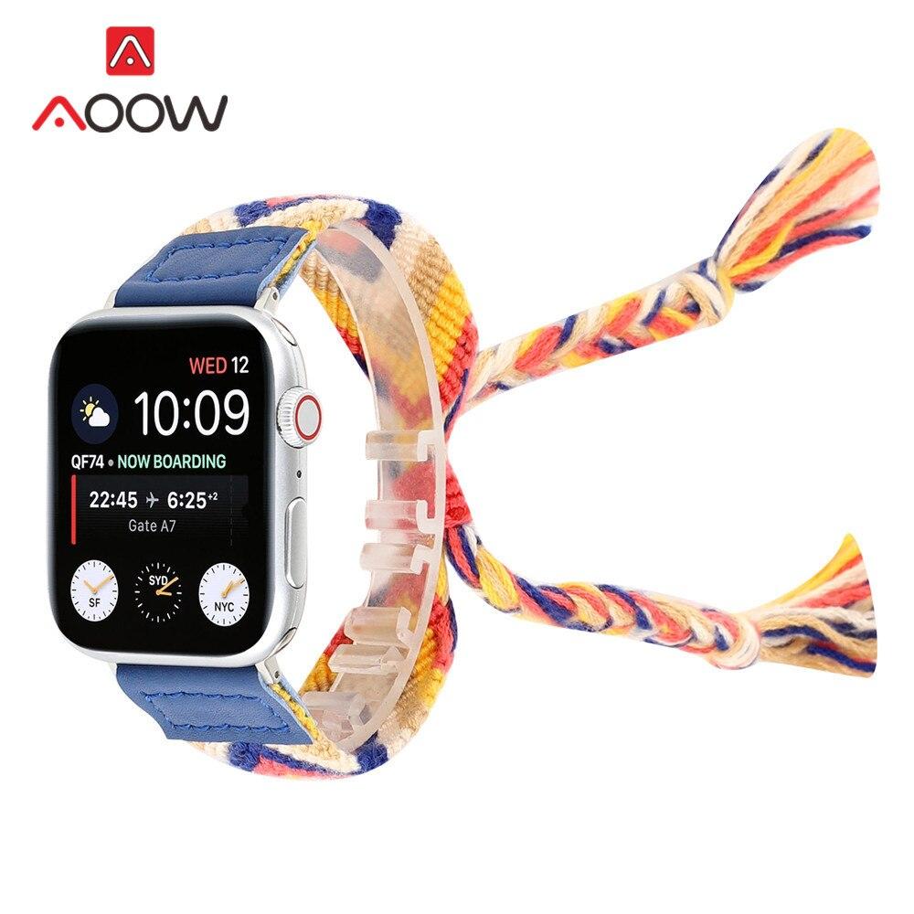 Красочная плетеная веревка ремешок для Apple Watch 40 мм 44 мм 38 мм 42 мм регулируемый браслет в народном стиле ремешок для iWatch 1 2 3 4|Ремешки для часов|   | АлиЭкспресс