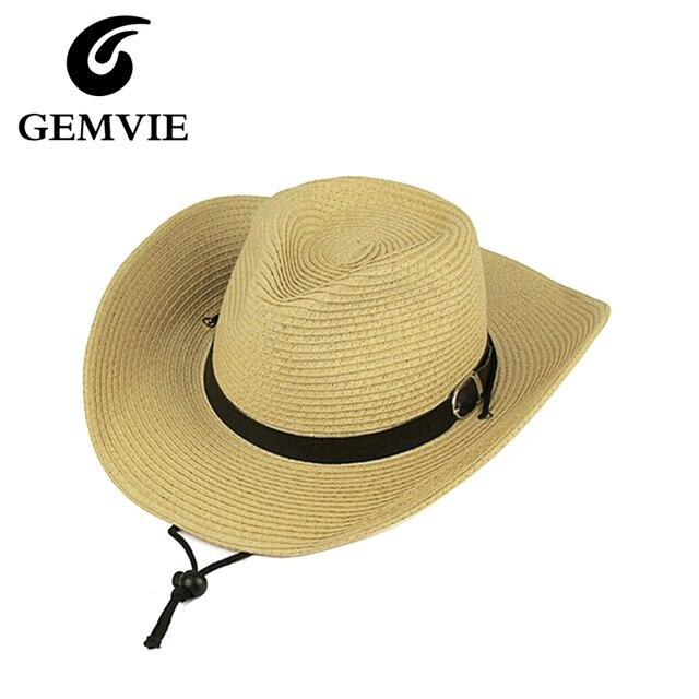 Oeste Cowboy Homens Dobráveis Chapéus De Palha Da Praia do Verão Ampla  Grande Brim Sunhats Tampas c9945ff2be