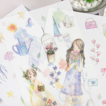 6Pcs/lot girl series Paper Sticker Decoration diy Diary Scrapbooking Label Stickers Stationery School Supply