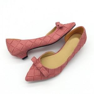 Image 4 - BEYARNE Toe Women Bowtie Pumps Spring Autumn Slip On Woman DOrsay Low Heel Pumps Shoes Ladies Spike Heels Single Shoes