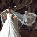 Free Shipping Cheap 1.5m Lace Edge Wedding Veils Tulle One Layer Bridal Veils Wedding Accessory Velos De Novia