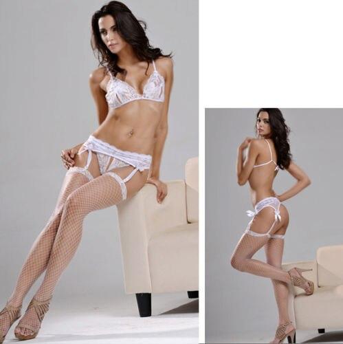 369061afb8 Mujeres nupcial ligueros + ropa interior + medias de red pantimedias sexy  underwear con abierto de mama sujetador conjuntos de lencería blanco en  Conjuntos ...